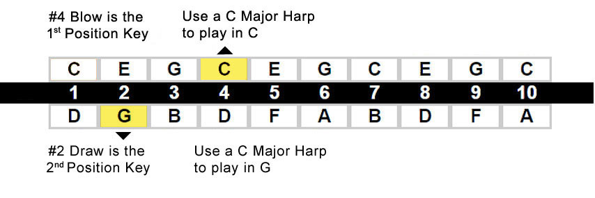 Harmonica position chart - MAJOR DIATONIC (2nd Position plays the Mixolydian Scale / Blues)